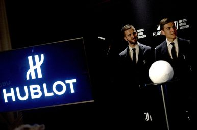 Miralem Pjanic and Paulo Dybala at the official launch of the Hublot Classic Fusion Juventus