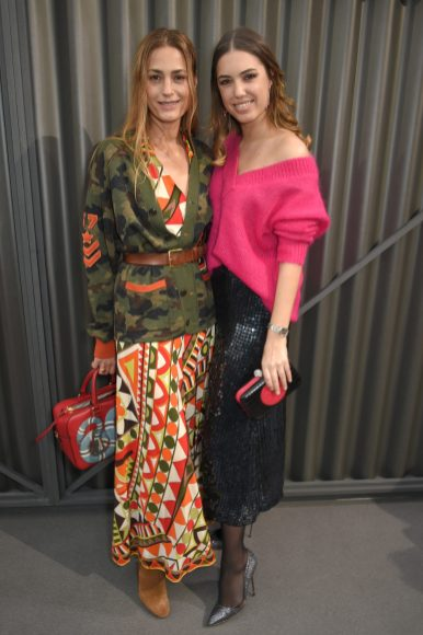LONDON, ENGLAND - FEBRUARY 18: Yasmin Le Bon and Amber Le Bon attend Temperley London Fashion Show Fall/Winter 18 during London Fashion Week at Seymour Leisure Centre on February 18, 2018 in London, England. (Photo by David M. Benett for Temperley London )