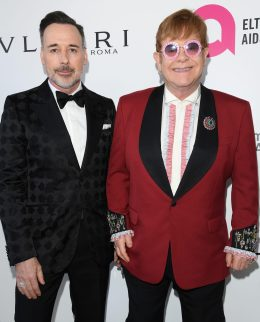 LOS ANGELES, CA - MARCH 04: David Furnish (L) and Sir Elton John attends Elton John AIDS Foundation 26th Annual Academy Awards Viewing Party at The City of West Hollywood Park on March 4, 2018 in Los Angeles, California. (Photo by Venturelli/Getty Images for Bulgari) *** Local Caption *** Sir Elton John;David Furnish