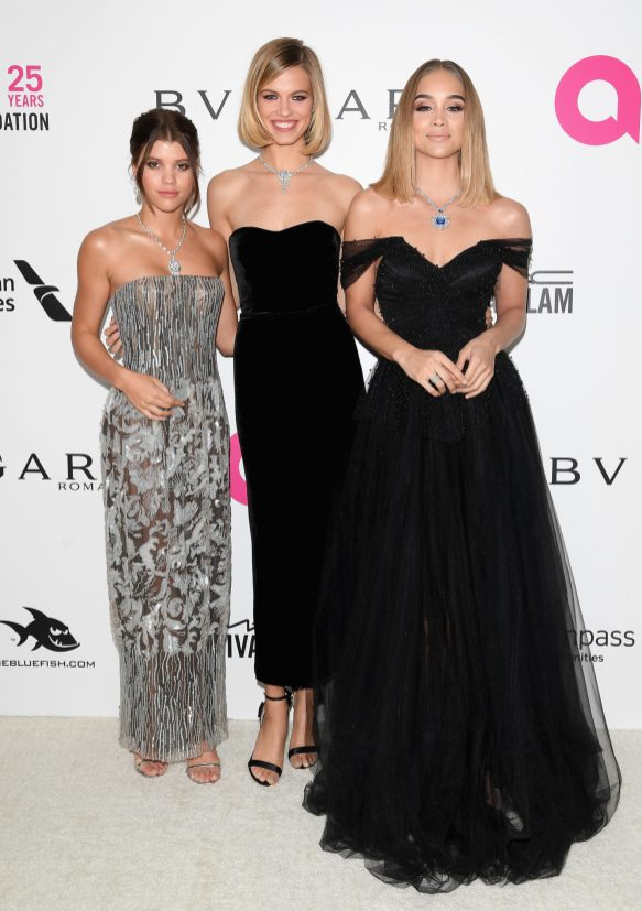LOS ANGELES, CA - MARCH 04: (L-R) Sofia Richie, Jasmine Sanders attend Elton John AIDS Foundation 26th Annual Academy Awards Viewing Party at The City of West Hollywood Park on March 4, 2018 in Los Angeles, California. (Photo by Venturelli/Getty Images for Bulgari) *** Local Caption *** Sofia Richie;Jasmine Sanders