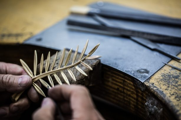 12. Hand Carving the Palme after casting 2