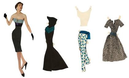 11 - Paper doll Bettina et trois vêtements de sa garde-robe, 1953 © Fondation Pierre Bergé - Yves Saint Laurent _ Tous droits réservés