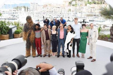 CANNES, FRANCE - MAY 15: (L-R) Chewbacca (in costume), Actors Donald Glover, Alden Ehrenreich, Emilia Clarke, director Ron Howard, actors Woody Harrelson, Thandie Newton, Joonas Suotamo, Phoebe Waller-Bridge and Paul Bettany attend the 'Solo: A Star Wars Story' official photocall at Palais des Festivals on May 15, 2018 in Cannes, France. (Photo by Antony Jones/Getty Images for Disney) *** Local Caption *** Chewbacca; Donald Glover; Alden Ehrenreich; Emilia Clarke; Ron Howard; Woody Harrelson; Thandie Newton; Joonas Suotamo; Phoebe Waller-Bridge; Paul Bettany