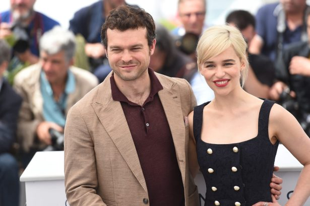 CANNES, FRANCE - MAY 15: Actors Alden Ehrenreich and Emilia Clarke attend the 'Solo: A Star Wars Story' official photocall at Palais des Festivals on May 15, 2018 in Cannes, France. (Photo by Antony Jones/Getty Images for Disney) *** Local Caption *** Alden Ehrenreich; Emilia Clarke