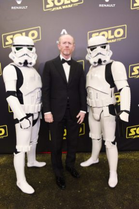 CANNES, FRANCE - MAY 15: Director Ron Howard and Stormtroopers attend a 'Solo: A Star Wars Story' party at the Carlton Beach following the film's out of competition screening during the 71st International Cannes Film Festival at Carlton Beach on May 15, 2018 in Cannes, France. (Photo by Antony Jones/Getty Images for Disney) *** Local Caption *** Ron Howard