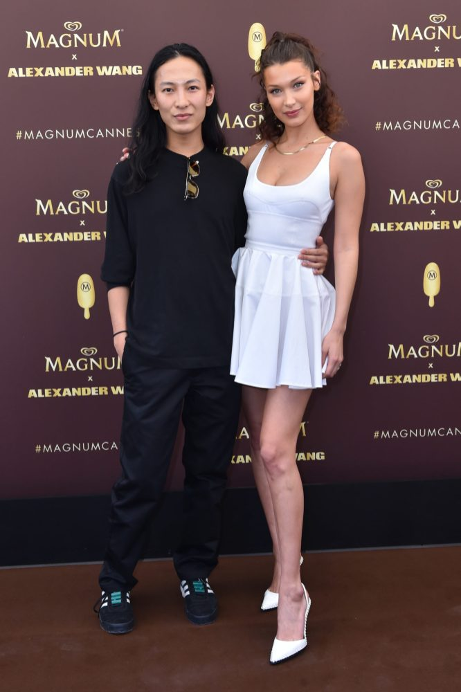 EDITORIAL USE ONLY Alexander Wang and Bella Hadid arrives in Cannes to unveil the Magnum x Alexander Wang cooler bag and prepare for an evening of indulgence to celebrate MagnumÕs iconic range of expertly crafted ice creams #TakePleasureSeriously. PRESS ASSOCIATION Photo. Picture date: Thursday May 10, 2018. Photo credit should read: Matt Crossick/PA/Magnum