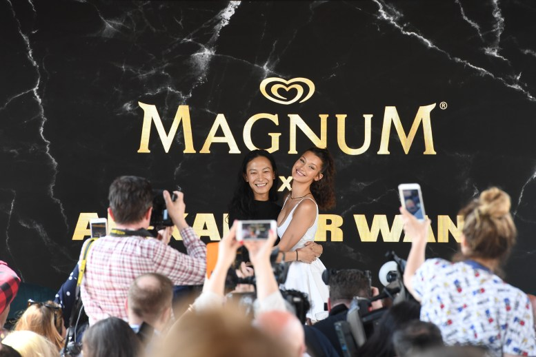 EDITORIAL USE ONLY Alexander Wang and Bella Hadid unveil exclusive Magnum x Alexander Wang cooler bag as part of MagnumÕs ÔTake Pleasure SeriouslyÕ campaign in Cannes, France. PRESS ASSOCIATION Photo. Picture date: Thursday May 10, 2018. Photo credit should read: Jonathan Hordle/PA/Magnum