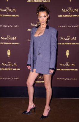 EDITORIAL USE ONLY Bella Hadid stuns in head to toe Alexander Wang at the Magnum x Alexander Wang ÔTake Pleasure SeriouslyÕ party in Cannes, France. PRESS ASSOCIATION Photo. Picture date: Thursday May 10, 2018. Photo credit should read: Matt Crossick/PA/Magnum