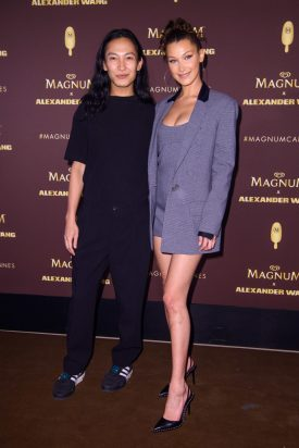 EDITORIAL USE ONLY Bella Hadid and Alexander Wang wear impeccable and indulgent outfits at the celebrity-packed Magnum x Alexander Wang ÔTake Pleasure SeriouslyÕ party in Cannes, France. PRESS ASSOCIATION Photo. Picture date: Thursday May 10, 2018. Photo credit should read: Matt Crossick/PA/Magnum