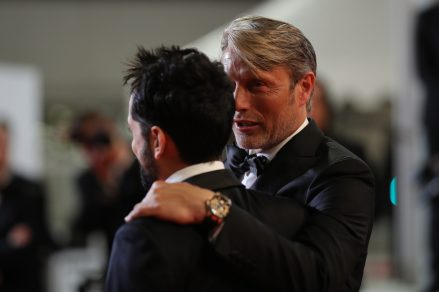 """CANNES, FRANCE - MAY 10: Director Joe Penna and actor Mads Mikkelsen attend the screening of """"Arctic"""" during the 71st annual Cannes Film Festival at Palais des Festivals on May 10, 2018 in Cannes, France. (Photo by Andreas Rentz/Getty Images)"""