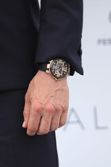 """CANNES, FRANCE - MAY 10: Actor Mads Mikkelsen, watch detail, attends the photocall for """"Arctic"""" during the 71st annual Cannes Film Festival at Palais des Festivals on May 10, 2018 in Cannes, France. (Photo by Andreas Rentz/Getty Images)"""