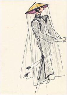 03 - Croquis d'illustration pour la collection haute couture automne-hiver 1977, Musée Yves Saint Laurent Paris © Fondation Pierre Bergé - Yves Saint Laurent _ Tous droits réservés