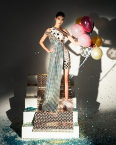 FW19-11 Cream Colored Fitted Gown Embellished With Laser-Cut Mirrors, Sequins And Beads With A Tweed Iridescent Over-Dress