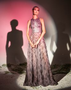 FW19-15 Lilac Silk Chiffon Gown Embellished With Silicone Plaids And Holographic Sequins