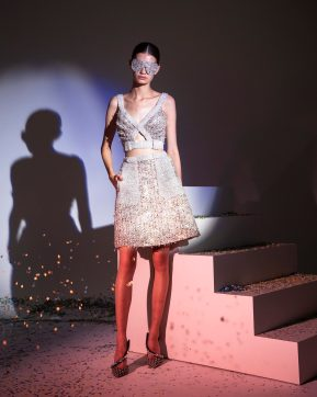 FW19-3 Iridescent Sequins Tweed Short Dress With Highlighted Swarovski Pockets And Neckline And Tweed Sunglasses