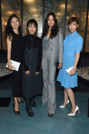 NEW YORK, NY - SEPTEMBER 12: (Second from left) Bibi Zhou, Jessica Gomes and Tsubasa Honda attend the Michael Kors x 10 Corso Como Dinner at 10 Corso Como on September 12, 2018 in New York City. (Photo by Larry Busacca/Getty Images for Michael Kors)