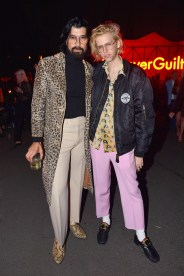 HOLLYWOOD, CA - NOVEMBER 02: Myles Hendrik (L) and Bunny Kinney attend Gucci Guilty Launch Party at Hollywood Forever on November 2, 2018 in Hollywood, California. (Photo by Donato Sardella/Getty Images for GUCCI)
