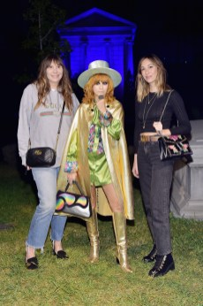 HOLLYWOOD, CA - NOVEMBER 02: (L-R) Jacqui Getty, Linda Ramone, and Gia Coppola attend Gucci Guilty Launch Party at Hollywood Forever on November 2, 2018 in Hollywood, California. (Photo by Stefanie Keenan/Getty Images for GUCCI)