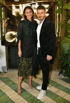 MIAMI, FL - DECEMBER 06: Caroline Rush (L) and David Beckham attend Adidas Originals, British Fashion Council and David Beckham host a dinner in celebration of their creative collaboration on December 6, 2018 in Miami, United States. (Photo by Getty Images/BFC/Getty Images for BFC) *** Local Caption *** Caroline Rush;David Beckham