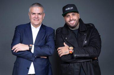 Hublot CEO Ricardo Guadalupe and Hublot Ambassador Nicky Jam at the launch of the Big Bang Meca-10 Nicky Jam