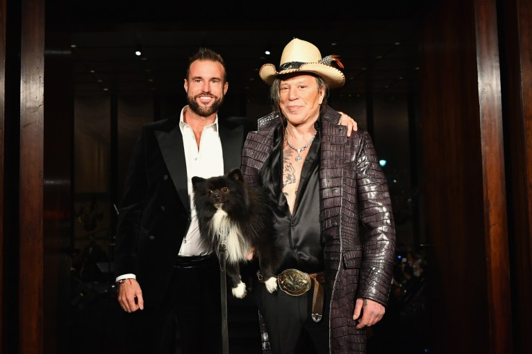 NEW YORK, NY - FEBRUARY 11: Designer Philipp Plein and Mickey Rourke walks the runway at Billionaire Fall/Winter 2019/2020 Runway at The Grill on February 11, 2019 in New York, New York. (Photo by Slaven Vlasic/Getty Images for Philipp Plein & Billionaire ) *** Local Caption *** Philipp Plein;Mickey Rourke