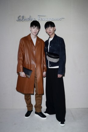 MILAN, ITALY - FEBRUARY 23: Noah Lee and Taiki attend the Salvatore Ferragamo show during Milan Fashion Week Autumn/Winter 2019/20 on February 23, 2019 in Milan, Italy. (Photo by Vittorio Zunino Celotto/Getty Images for Salvatore Ferragamo)