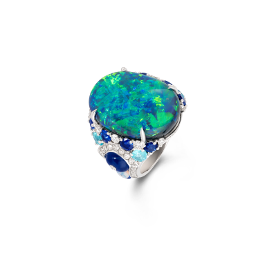 20.48ct opal ring with paraiba, blue sapphires and white diamonds set in 18ct white gold (2)