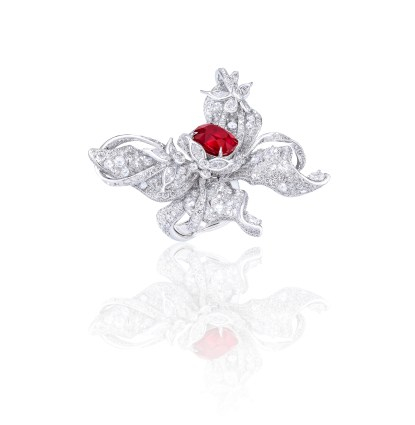 ANNA HU Le Papillon Ring in Ruby - side