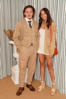 LONDON, ENGLAND - JULY 14: Hana Cross and Brooklyn Beckham in Polo Ralph Lauren attend the Polo Ralph Lauren suite during the Wimbledon Tennis Championship Men's Final at All England Lawn Tennis and Croquet Club on July 14, 2019 in London, England. (Photo by Darren Gerrish/WireImage)