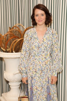 LONDON, ENGLAND - JULY 14: Claire Foy in Polo Ralph Lauren attends the Polo Ralph Lauren suite during the Wimbledon Tennis Championship Men's Final at All England Lawn Tennis and Croquet Club on July 14, 2019 in London, England. (Photo by Darren Gerrish/WireImage)