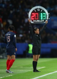 PARIS, FRANCE - JUNE 07: Fourth official Melissa Borjas signals for a substitution during the 2019 FIFA Women's World Cup France group A match between France and Korea Republic at Parc des Princes on June 07, 2019 in Paris, France. (Photo by Alex Grimm/Bongarts/Getty Images)