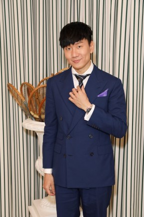 LONDON, ENGLAND - JULY 14: JJ Lin in Ralph Lauren Purple Label attends the Polo Ralph Lauren suite during the Wimbledon Tennis Championship Men's Final at All England Lawn Tennis and Croquet Club on July 14, 2019 in London, England. (Photo by Darren Gerrish/WireImage)