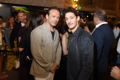 PARIS, FRANCE - JULY 02: Vincent Perez and Pierre Niney attend Tod's X Alber Elbaz Happy Moments at Yoyo Palais De Tokyo on July 02, 2019 in Paris, France. (Photo by Victor Boyko/WireImage)