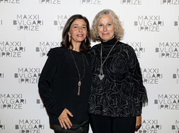 LONDON, ENGLAND - OCTOBER 01: Lucia Boscaini (L) and Giovanna Melandri attend The Maxxi Bulgari Prize on October 01, 2019 in London, England. (Photo by Tristan Fewings/Getty Images for Maxxi)