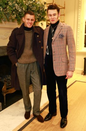 LONDON, ENGLAND - NOVEMBER 20: (L-R) Max and Freddie Foulkes attend the opening celebrations for the J.P Hackett store at No.14 Savile Row on November 20, 2019 in London, England. (Photo by David M. Benett/Dave Benett/Getty Images for Hackett)