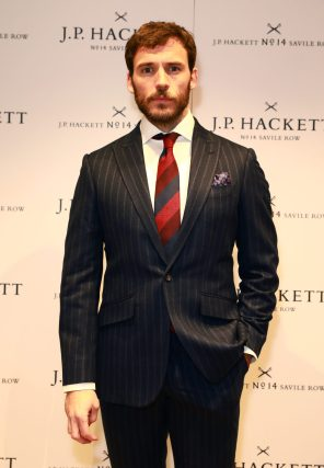 LONDON, ENGLAND - NOVEMBER 20: Actor Sam Claflin attends the opening celebrations for the J.P Hackett store at No.14 Savile Row on November 20, 2019 in London, England. (Photo by David M. Benett/Dave Benett/Getty Images for Hackett)