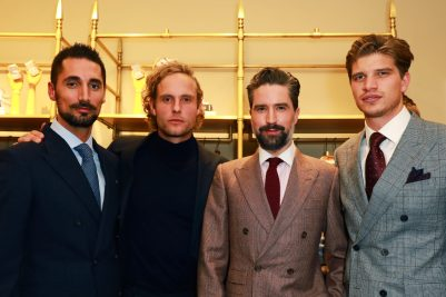 LONDON, ENGLAND - NOVEMBER 20: (L-R) Hugo Taylor, Jack Fox, Jack Guinness and Toby Huntington-Whiteley attend the opening celebrations for the J.P Hackett store at No.14 Savile Row on November 20, 2019 in London, England. (Photo by David M. Benett/Dave Benett/Getty Images for Hackett)