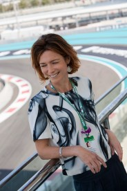ABU DHABI, UNITED ARAB EMIRATES - DECEMBER 01: Perfumer Emilie Cooperman at the launch of the Formula 1 fragrance at Yas Marina Circuit on December 01, 2019 in Abu Dhabi, United Arab Emirates. (Photo by Darren Arthur/Getty Images for Designer Parfums)
