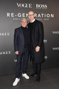 MILAN, ITALY - FEBRUARY 21: Antonio Simina and Ingo Wilts arrive for the BOSS & VOGUE Italia Event at Hotel Viu Milan on February 21, 2020 in Milan, Italy. (Photo by Jacopo M. Raule/Getty Images for Boss)