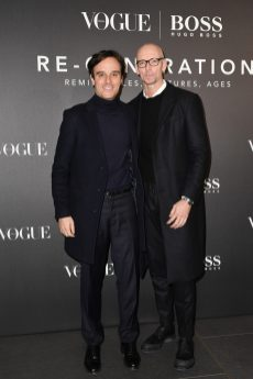 MILAN, ITALY - FEBRUARY 21: Emanuele Farneti and Ingo Wilts arrive for the BOSS & VOGUE Italia Event at Hotel Viu Milan on February 21, 2020 in Milan, Italy. (Photo by Jacopo M. Raule/Getty Images for Boss)