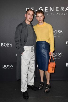MILAN, ITALY - FEBRUARY 21: Peter Zurkuhlen and Tommy Dorfman arrives for the BOSS & VOGUE Italia Event at Hotel Viu Milan on February 21, 2020 in Milan, Italy. (Photo by Jacopo M. Raule/Getty Images for Boss)