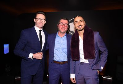 NEW YORK, NEW YORK - MARCH 10: Hugh Jackman, Sylvain Costof and Quincy Brown attend as Montblanc celebrates the launch of MB 01 Headphones & Summit 2+ at World of McIntosh on March 10, 2020 in New York City. (Photo by Dimitrios Kambouris/Getty Images for Montblanc)