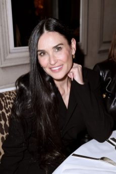 PARIS, FRANCE - FEBRUARY 29: Demi Moore attends the Monot show as part of the Paris Fashion Week Womenswear Fall/Winter 2020/2021 on February 29, 2020 in Paris, France. (Photo by Jacopo Raule/Getty Images)