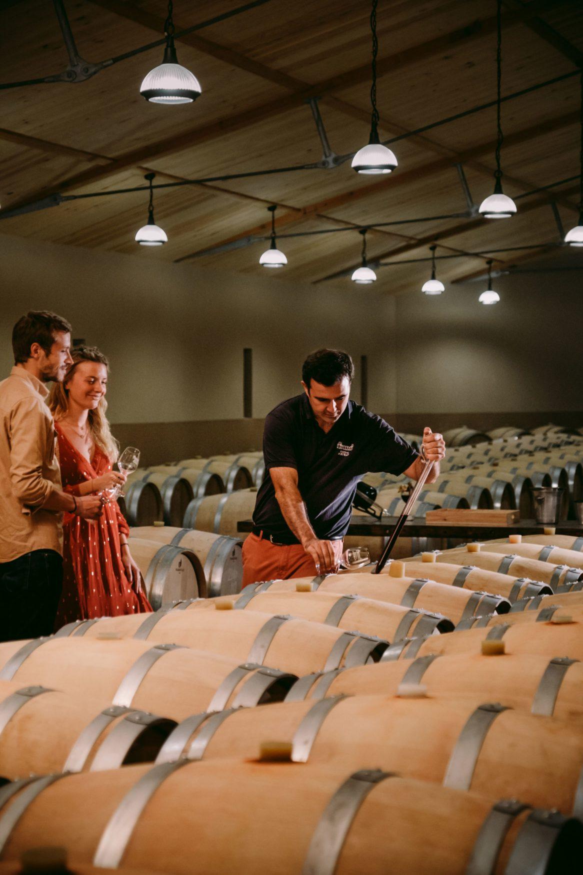 Vine adopters visiting the Château d'Eyran near Bordeaux