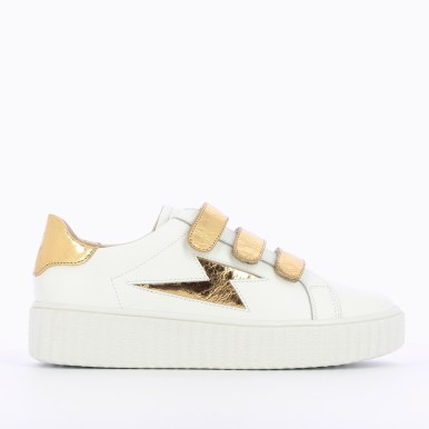 Flash leather sneakers + gold velcro