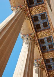 IMAGE 07 - West Portico, looking up toward original polychromed floral and geometric details - Steve Hall © Hall + Merrick Photographers, 2021