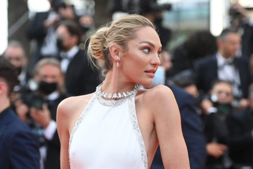 """CANNES, FRANCE - JULY 07: Candice Swanepoel attends the """"Tout S'est Bien Passe (Everything Went Fine)"""" screening during the 74th annual Cannes Film Festival on July 07, 2021 in Cannes, France. (Photo by Kate Green/Getty Images)"""