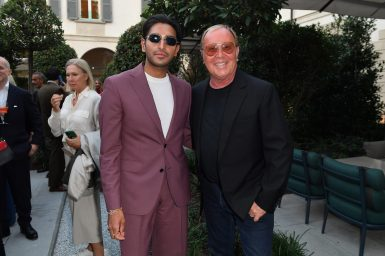 MILAN, ITALY - SEPTEMBER 23: Rahi Chadda and Michael Kors are seen at Michael Kors intimate Cocktail Party in Celebration of his 40th Anniversary on September 23, 2021 in Milan, Italy. (Photo by Jacopo M. Raule/Getty Images for Michael Kors)