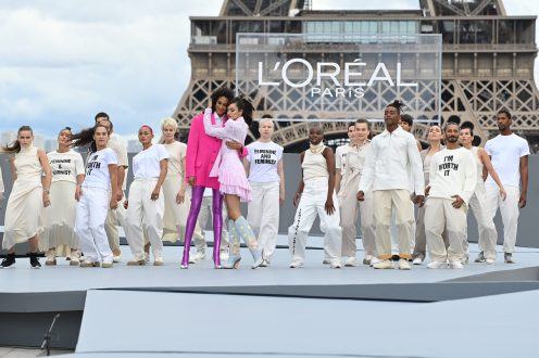 """PARIS, FRANCE - OCTOBER 03: Cindy Bruna and Luma Grothe walk the runway during """"Le Defile L'Oreal Paris 2021"""" as part of Paris Fashion Week on October 03, 2021 in Paris, France. (Photo by Pascal Le Segretain/Getty Images For L'Oreal)"""