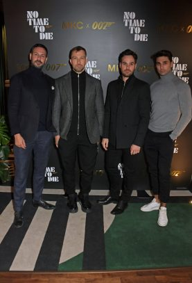 LONDON, ENGLAND - SEPTEMBER 29: (L to R) Joey Ghazal, Andrey Shvidkiy, President of Michael Kors EMEA Robin Gendron and Rayan Ricci attend a private screening of 'No Time To Die' hosted by Michael Kors in celebration of the Michael Kors Bond 007 Capsule Collection partnership, at the Everyman Chelsea on September 29, 2021 in London, England. (Photo by David M. Benett/Dave Benett/Getty Images for Michael Kors)